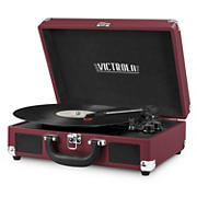 Victrola Portable Suitcase Record Player with Bluetooth - Maroon