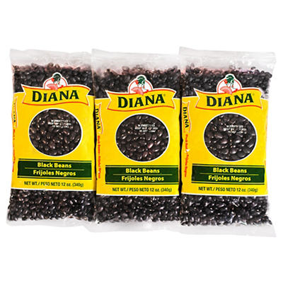 Diana Dry Black Beans Bulk Dry Bags, 6 Bags/12 oz.