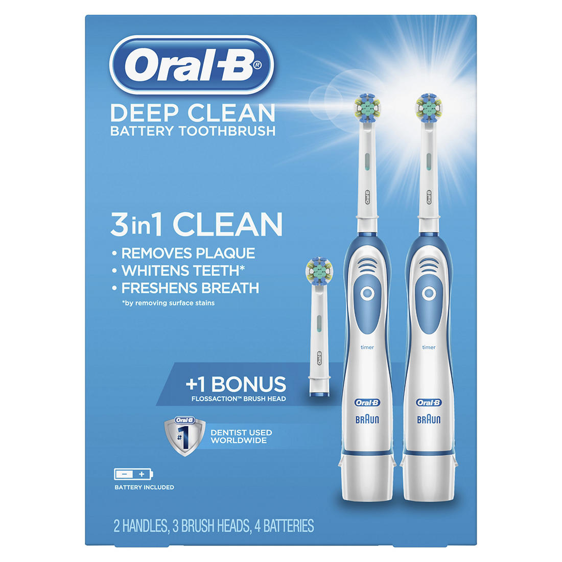 Oral B Deep Clean Battery Toothbrush 2 Pk