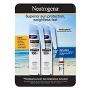 Neutrogena Ultra Sheer Body Mist Full reach Sunscreen Spray Broad Spectrum SPF 100+ 2 pk./5 oz. with Bonus Lip Moisturizer