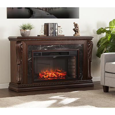 SEI Stone Creek Carved Widescreen Fireplace with Natural Marble - Espr