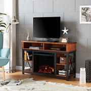SEI Ensaine Electric Fireplace TV/Media Stand - Matte Black with Dark Sienna