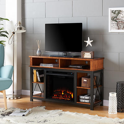SEI Ensaine Electric Fireplace TV/Media Stand - Matte Black with Dark
