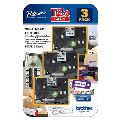 Brother P-Touch TZe Tape for P-Touch Labelers, 3 pk. - Black on White