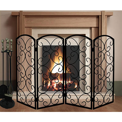 5-Pc. Heavy-Duty Fireplace Tool Set and 4-Panel Screen