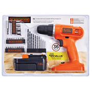 Black & Decker 18V Cordless Drill and 35-Pc. Accessory Kit