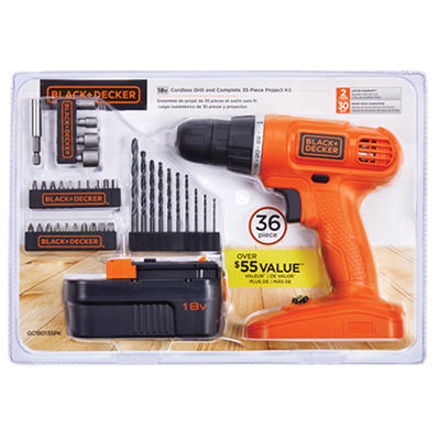 Black & Decker 18V Cordless Drill and 35-Pc. Accessory Kit