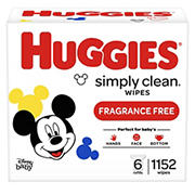 Huggies Simply Clean Fragrance-Free Wipes, 1,152 sheets