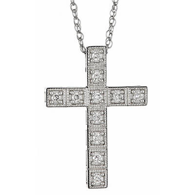 .25 ct. t.w. Round Diamond Cross Pendant Necklace in Sterling Silver