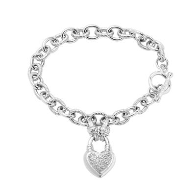 .25 ct. t.w. Diamond Heart Toggle Bracelet in Sterling Silver
