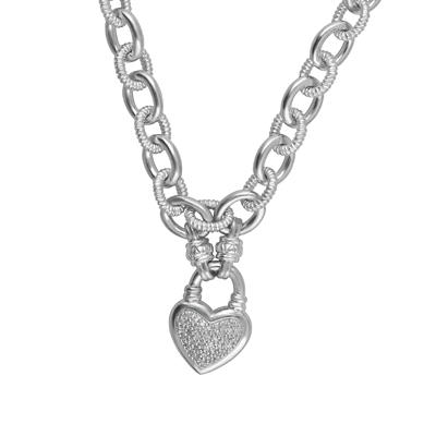 .25 ct. t.w. Diamond Heart Toggle Necklace in Sterling Silver