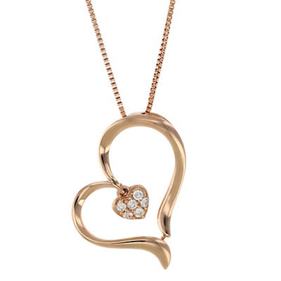 .05 ct. t.w. Diamond Heart Necklace in 14k Pink Gold