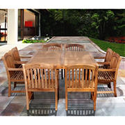 Amazonia Kapalua 9-Pc. Teak Outdoor Dining Set - Brown
