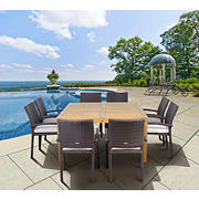 Amazonia Cabo 9-Pc. Teak Outdoor Dining Set - Natural/Off-White