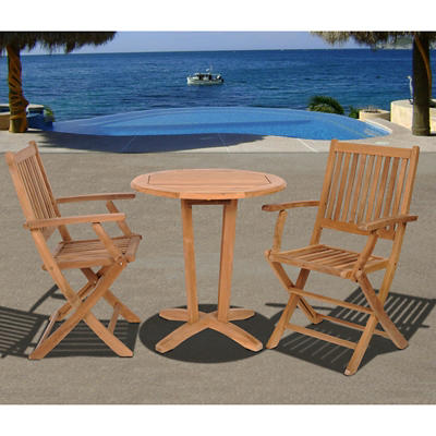 Amazonia Austin 3-Pc. Teak Bistro Set - Natural