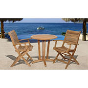 Amazonia Amelia 3-Pc. Teak Bistro Set - Natural