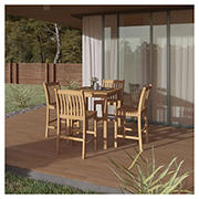 Amazonia Nevada 5-Pc. Teak Pub-Height Dining Set - Brown