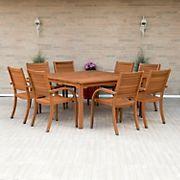 Amazonia Kentucky 9-Pc. Square Eucalyptus Outdoor Dining Set - Brown