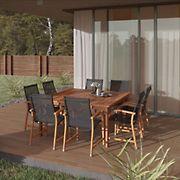 Amazonia Indiana 9-Pc. Square Eucalyptus Outdoor Dining Set - Brown/Black