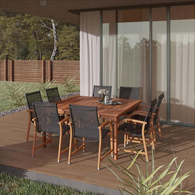 Amazonia Indiana 9-Pc. Square Eucalyptus Outdoor Dining Set - Brown/Bl