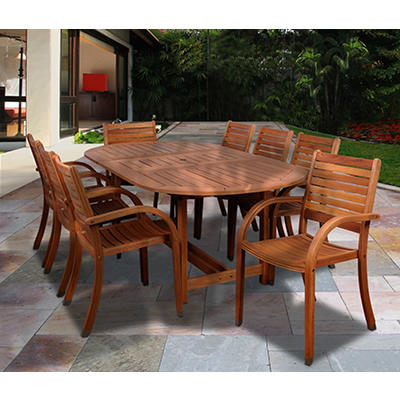 Amazonia Kentucky 9-Pc. Oval Eucalyptus Outdoor Dining Set - Brown