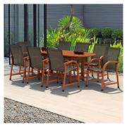 Amazonia Indiana 9-Pc. Oval Eucalyptus Outdoor Dining Set - Black/Brown