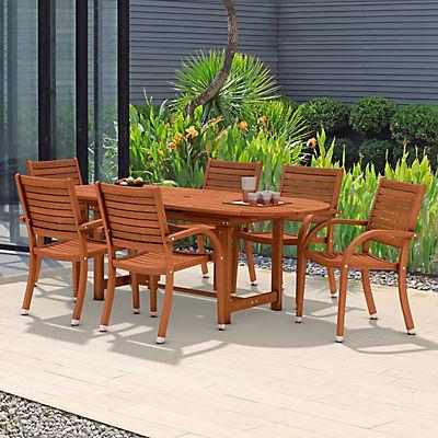 Amazonia Kentucky 7-Pc. Oval Eucalyptus Outdoor Dining Set - Brown