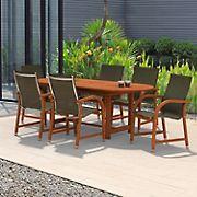 Amazonia Indiana 7-Pc. Oval Eucalyptus Outdoor Dining Set - Black/Brown