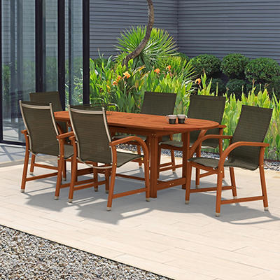 Amazonia Indiana 7-Pc. Oval Eucalyptus Outdoor Dining Set - Black/Brow