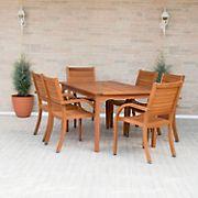 Amazonia Kentucky 7-Pc. Rectangular Eucalyptus Outdoor Dining Set - Brown