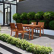 Amazonia Kentucky 5-Pc. Rectangular Eucalyptus Outdoor Dining Set - Brown