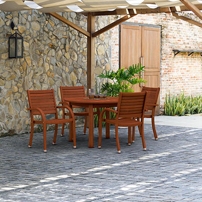 Amazonia Kentucky 5-Pc. Round Eucalyptus Outdoor Dining Set - Brown