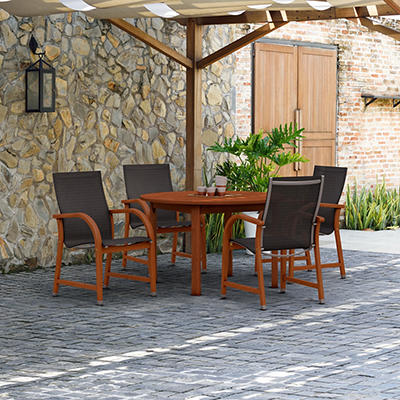 Amazonia Indiana 5-Pc. Round Eucalyptus Outdoor Dining Set - Black/Bro