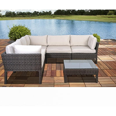Atlantic Santa Lucia 6-Pc. Outdoor Sectional Set - Dark Brown/Off-Whit