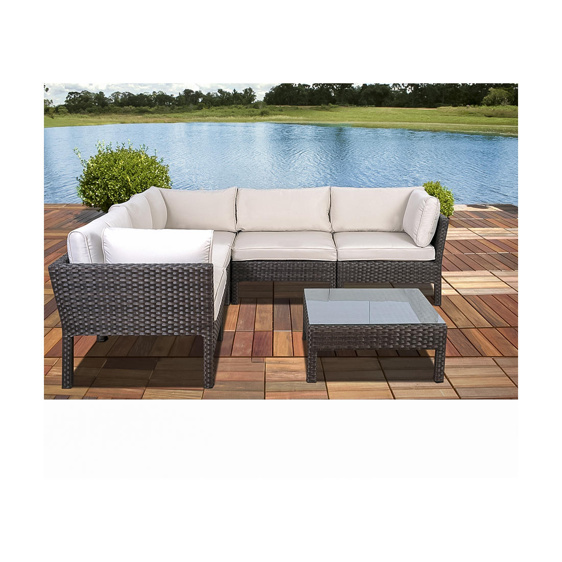 Atlantic Santa Lucia 6 Pc Outdoor Sectional Set Dark Brown Off