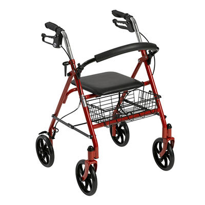 Drive Medical 4-Wheel Rollator with Fold-Up Removable Back Support - R