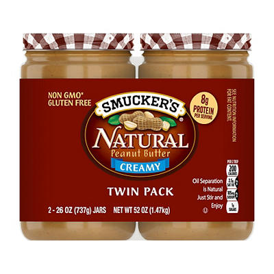 Smucker's Natural Creamy Peanut Butter, 2 pk./26 oz.