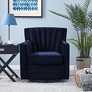 Handy Living Velvet Swivel Armchair - Navy Blue