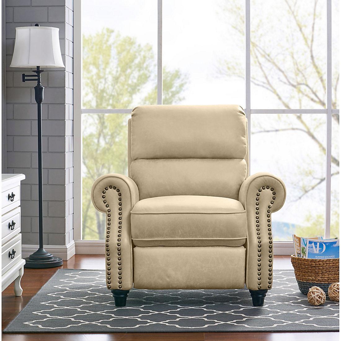 Sensational Prolounger Faux Leather Push Back Recliner Latte Tan Ibusinesslaw Wood Chair Design Ideas Ibusinesslaworg