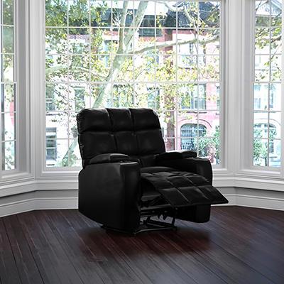ProLounger Power Renu Leather Storage Recliner - Black