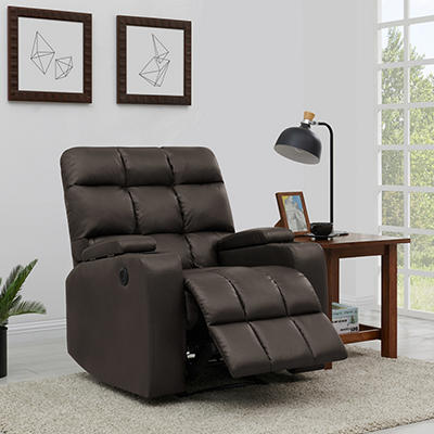 ProLounger Power Renu Leather Storage Recliner - Coffee Brown