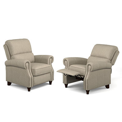 ProLounger Fabric Push-Back Recliners, 2 pk. - Barley Tan
