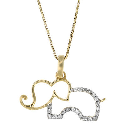 .10 ct. t.w. Diamond Elephant Necklace in 14k Yellow Gold