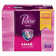 Poise Maximum Absorbency Long Incontinence Pads, 117 ct.