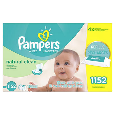 Pampers Natural Clean Baby Wipe Refills, 1,152 ct.