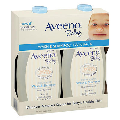 Aveeno Baby Wash Tear-Free Shampoo For Hair and Body, 2 pk./18 fl. oz.