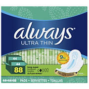 Always Ultra Thin Long and Super Pads with Flexi-Wings Multipack, 88 ct.