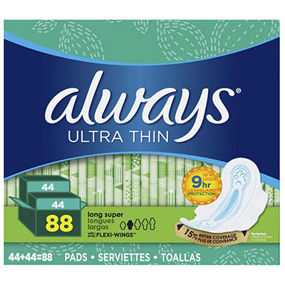Always Ultra Thin Long and Super Pads with Flexi-Wings Multipack, 88 c