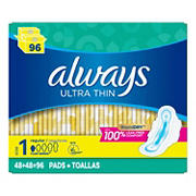 Always Ultra Thin Regular Pads with Flexi-Wings, 96 ct.