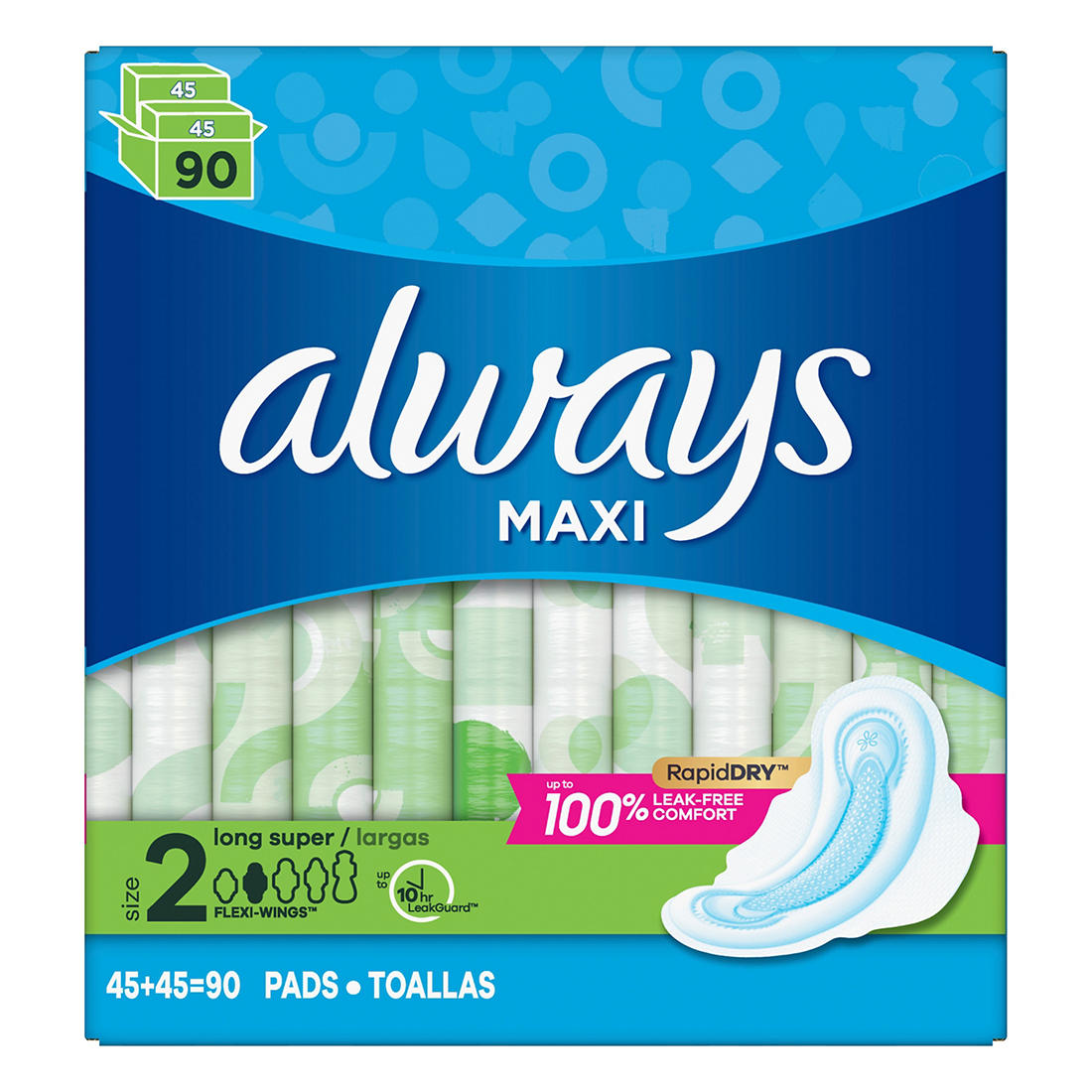 Always Long and Super Maxi Pads with Flexi-Wings Multipack, 90 ct